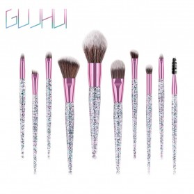 GUJHUI Brush Make Up Quicksand Glitter 10 Set - White/Pink - 7
