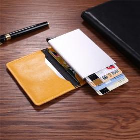 Kartu Anti RFID Bahan Kulit dengan Holder Aluminium - KB-005 - Black - 7