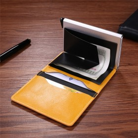 Kartu Anti RFID Bahan Kulit dengan Holder Aluminium - KB-005 - Black - 8