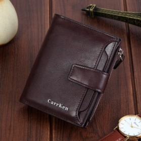 Carrken Dompet Kasual Pria Soft Leather - 13842 - Dark Brown