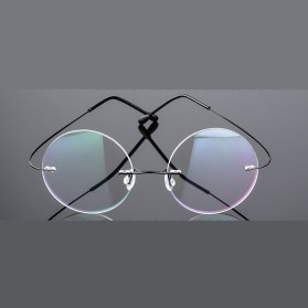 Frame Kacamata Bulat Frameless Titanium Ultra Light - 001 - Black