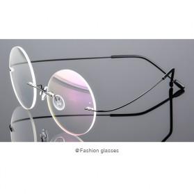 Frame Kacamata Bulat Frameless Titanium Ultra Light - 001 - Black - 2