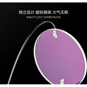 Frame Kacamata Bulat Frameless Titanium Ultra Light - 001 - Black - 4