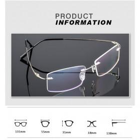 Xinder Frame Kacamata Frameless Titanium Ultra Light - 858 - Black - 4
