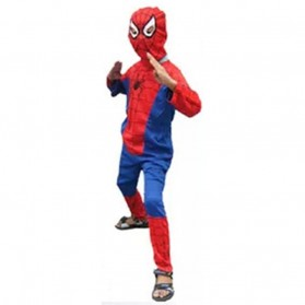 Kostum Cosplay Anak Karakter Spiderman - Size L - Red/Blue - 3