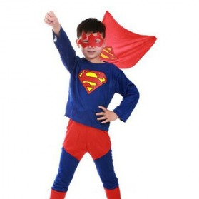 Kostum Cosplay Anak Karakter Superman - Size M - Blue/Red - 2