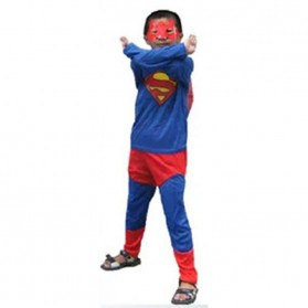 Kostum Cosplay Anak Karakter Superman - Size M - Blue/Red - 3