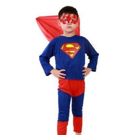 Kostum Cosplay Anak Karakter Superman - Size L - Blue/Red