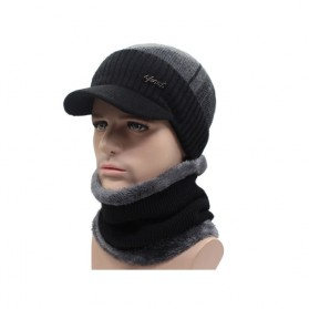 Topi Musim Dingin Rajut Winter Knitted Wool Caps Beanies with Scarf - Black
