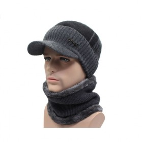 Topi Musim Dingin Rajut Winter Knitted Wool Caps Beanies with Scarf - Gray