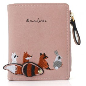 Ms. Embroidered Dompet Wanita Coin Small Animals Cute Pattern - WA346 - Pink