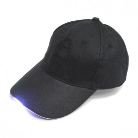 Topi Baseball Cap with 5 LED Light  - QCAD3W - Black