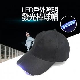 Topi Baseball Cap with 5 LED Light  - QCAD3W - Black - 2