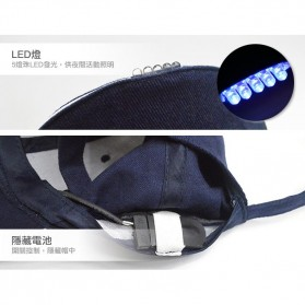 Topi Baseball Cap with 5 LED Light  - QCAD3W - Black - 4