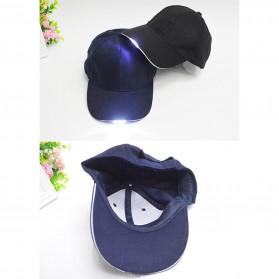 Topi Baseball Cap with 5 LED Light  - QCAD3W - Black - 8