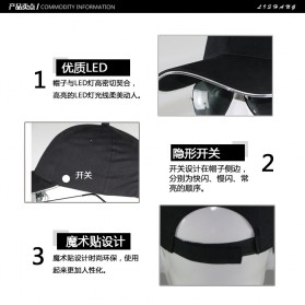 FAVOLOOK Topi Baseball Cap with Glowing RGB LED Light  - WXYQA - Black - 4