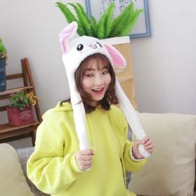 Swokii Topi Kelinci Kuping Gerak Goyang Dancing Dancing Plush Hat - 146886 - White