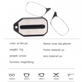 PANDER Kacamata Baca Frameless Clip Nose Mini Reading Glasses Keychain +200 - TR90 - 8