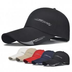 SportsC Topi Baseball Golf Pria Outdoor Fashion Line Cap Long Visor - MZ87 - Black - 2