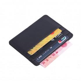 TRASSORY Dompet Kartu Bahan Kulit ID Card Holder Slim Design - 1003 - Black - 4