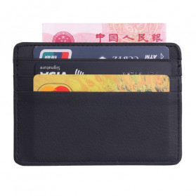 TRASSORY Dompet Kartu Bahan Kulit ID Card Holder Slim Design - 1003 - Black - 1