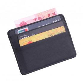TRASSORY Dompet Kartu Bahan Kulit ID Card Holder Slim Design - 1003 - Black - 2