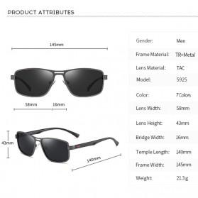 AOFLY Kacamata Frame Metal Kotak Polarized Sunglasses UV400 - 5925 - Black - 5