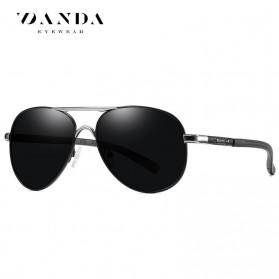 BARCUR Kacamata Frame Aviator Polarized Sunglasses UV400 - P0917 - Black/Silver