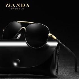 BARCUR Kacamata Frame Aviator Polarized Sunglasses UV400 - P0917 - Black/Silver - 2
