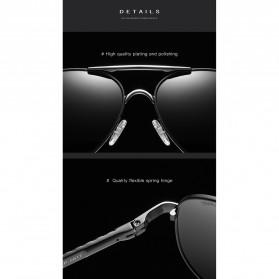 BARCUR Kacamata Frame Aviator Polarized Sunglasses UV400 - P0917 - Black/Silver - 3