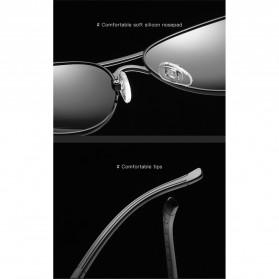 BARCUR Kacamata Frame Aviator Polarized Sunglasses UV400 - P0917 - Black/Silver - 4