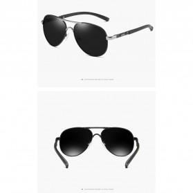 BARCUR Kacamata Frame Aviator Polarized Sunglasses UV400 - P0917 - Black/Silver - 6