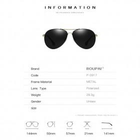 BARCUR Kacamata Frame Aviator Polarized Sunglasses UV400 - P0917 - Black/Silver - 7