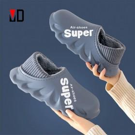 TZLDN Sepatu Sandal Plush Cotton Warm Anti Slip EVA Soft Unisex Size 44-45 - LGN905 - Dark Blue