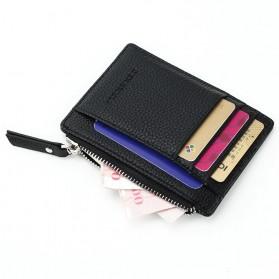 DEXBXULI Dompet Kartu Bahan Kulit ID Card Holder Slim Design - 208 - Black