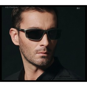 Veithdia Kacamata Designer UV Polarized Sunglasses - 6520 - Black - 5