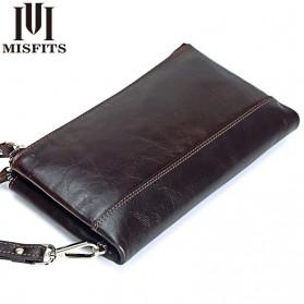 MISFITS Dompet Clutch Pria Bahan Kulit - 9047 - Brown - 1