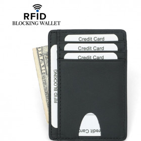 BUBM Dompet Kartu RFID Serbaguna Bahan Kulit Slim Design - YP-230 - Black