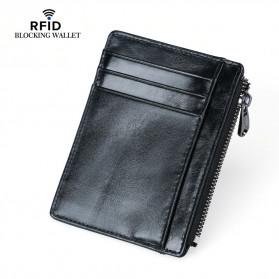 BUBM Dompet Kartu RFID Serbaguna Bahan Kulit Slim Design - YP-205 - Black