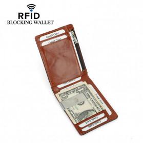 BUBM Dompet Anti RFID Bahan Kulit Slim Design - YP-211/212 - Brown - 2