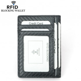 BUBM Dompet Kartu Anti RFID Bahan Kulit Slim Design - TQ-303 - Black - 2