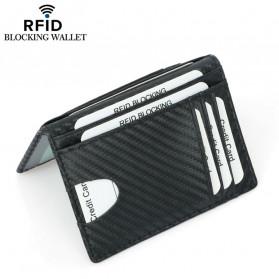 BUBM Dompet Kartu Anti RFID Bahan Kulit Slim Design - TQ-303 - Black - 4