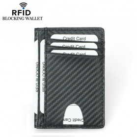 BUBM Dompet Kartu Anti RFID Bahan Kulit Slim Design - TQ-303 - Black - 5