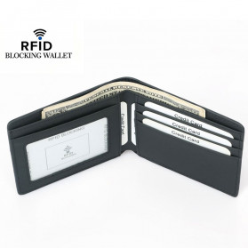 BUBM Dompet Kartu Anti RFID Bahan Kulit Slim Design - TQ-304 - Black