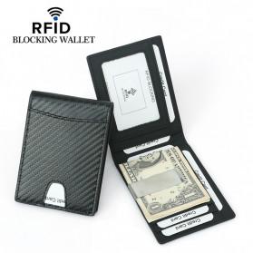BUBM Dompet Kartu Anti RFID Bahan Kulit Slim Design - TQ-306 - Black