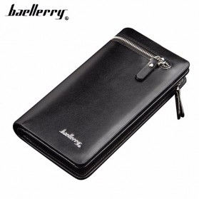 Baellerry Dompet Pria Model Double Zipper PU Leather - 349 - Black