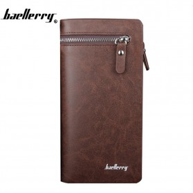 Baellerry Dompet Pria Model Double Zipper PU Leather - 349 - Brown