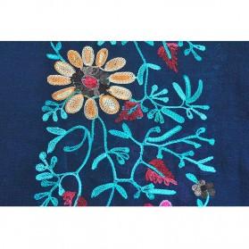 Syal Katun Motif Bunga Scarf Embroidery - Yellow - 8