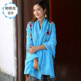 Syal Katun Motif Bunga Scarf Embroidery - Blue