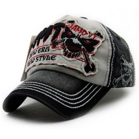 Topi Baseball Snapback Skull - Gray